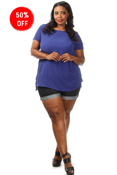 Plus Size Solid Short Sleeve Loose Top
