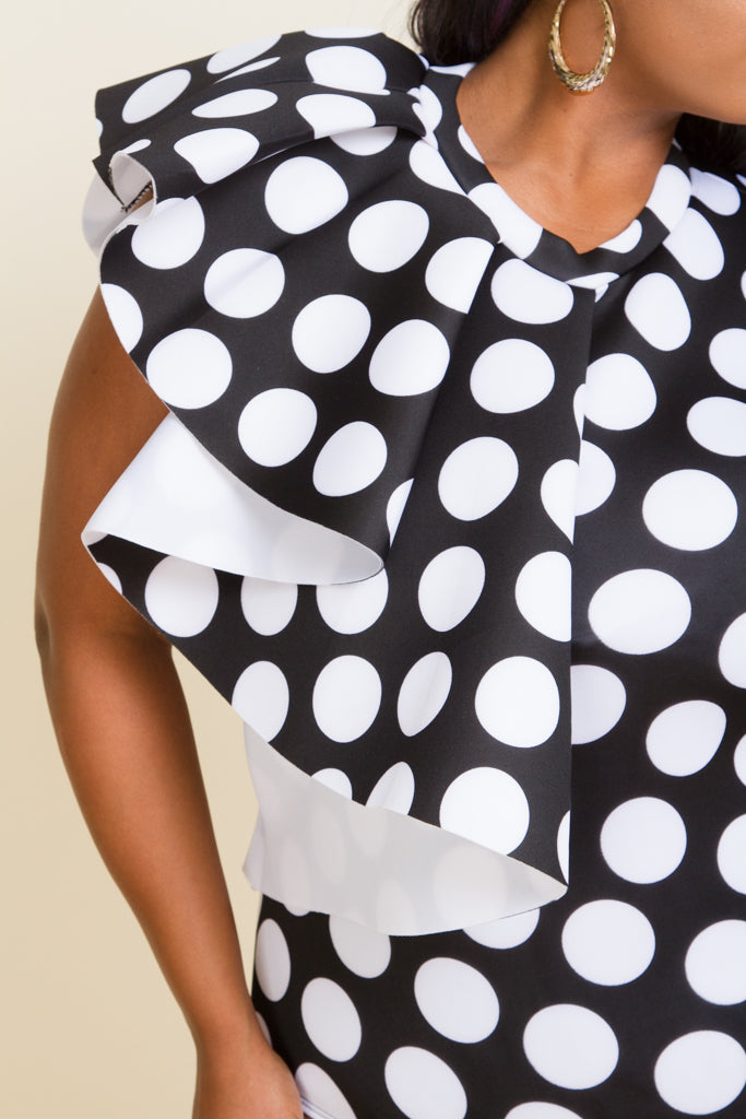 Plus Size Polka Dot Ruffle Bodysuit