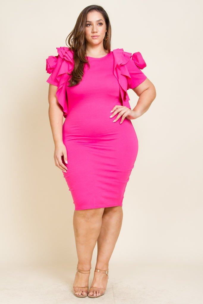 dc9a7177e6f1 Plus size roses exposed shoulder midi tube dress – PinkClubwear