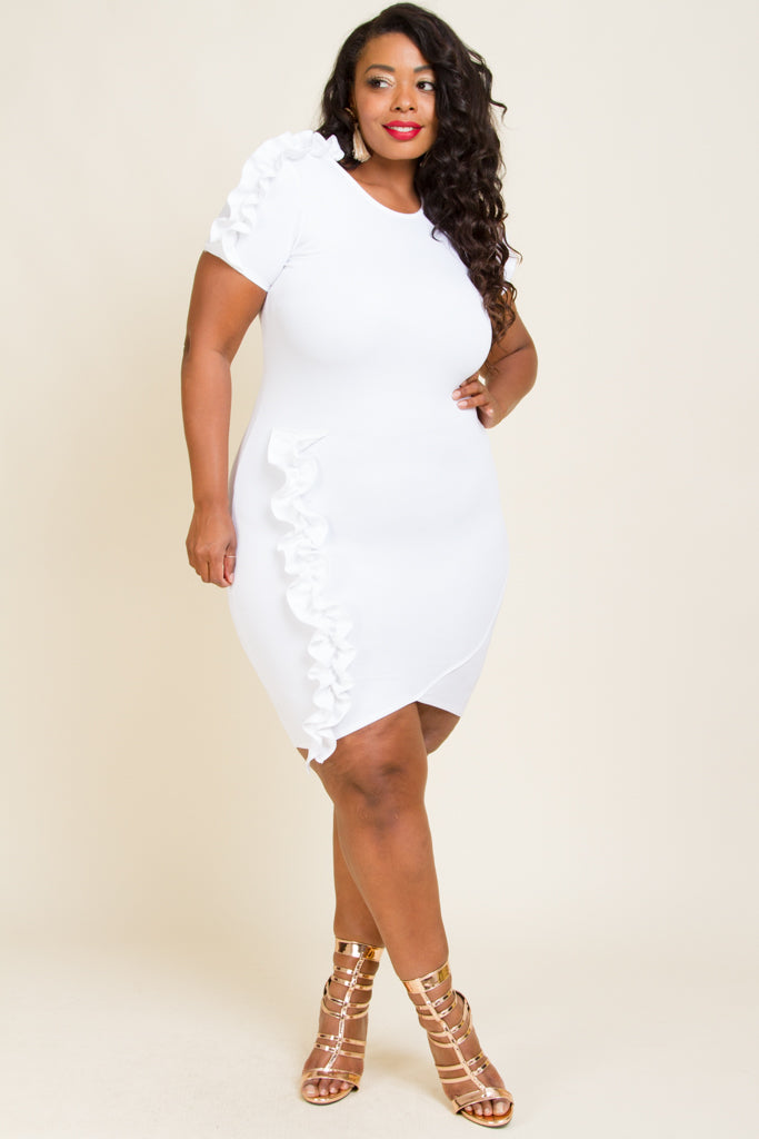 Plus Size Sexy Shirred Knee Dress