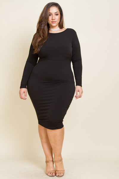 Plus Size Midi Dress with Open Back