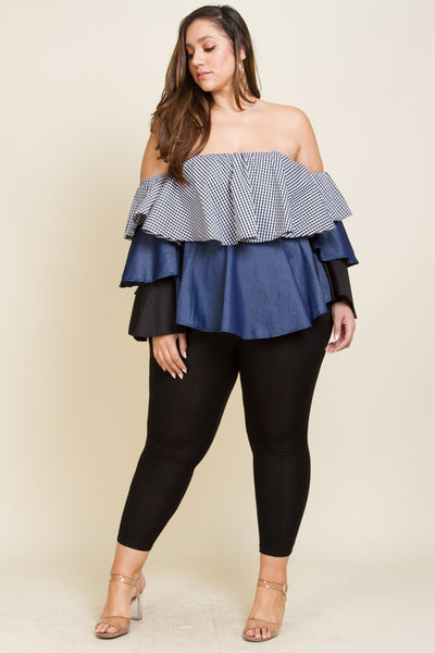 Plus Size Off shoulder denim contrast three layered top