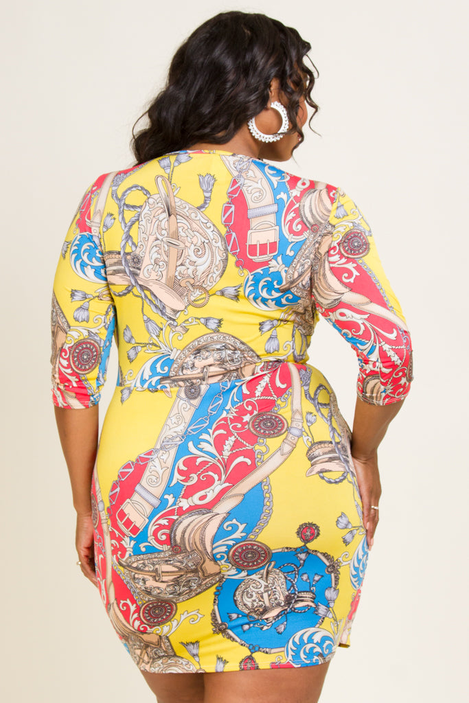 Plus Size Pattern Mini Dress