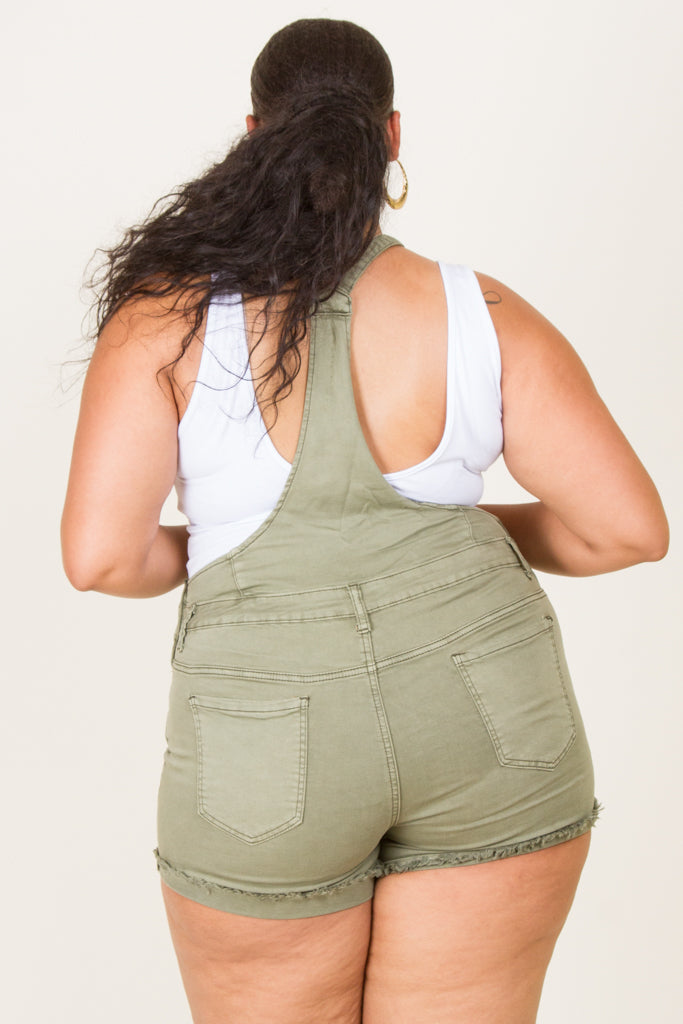 **FINAL SALE** Plus Size Solid Twill Overalls Shorts