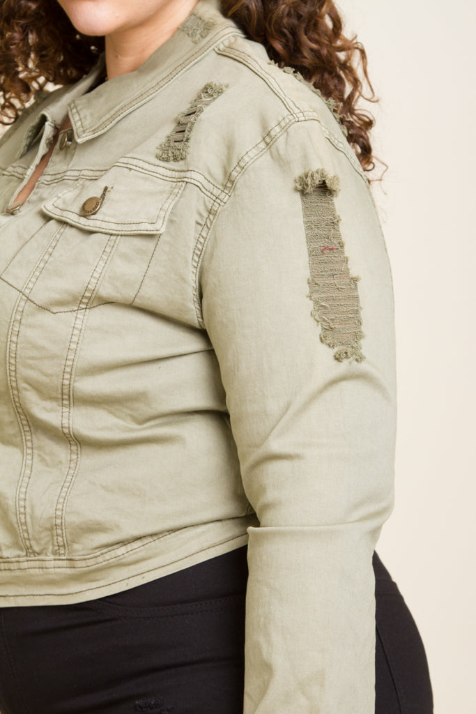 Plus Size Cropped Denim Jacket