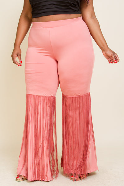 Plus Size Boot Cut Pants With Fringed