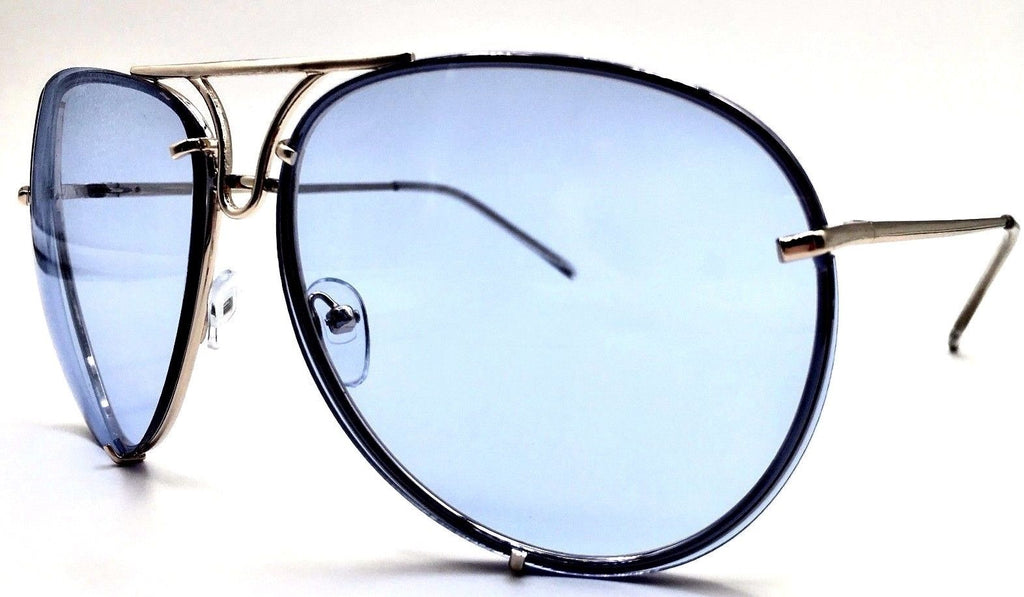 Oversized Classic Vintage Retro Aviator (Blue)