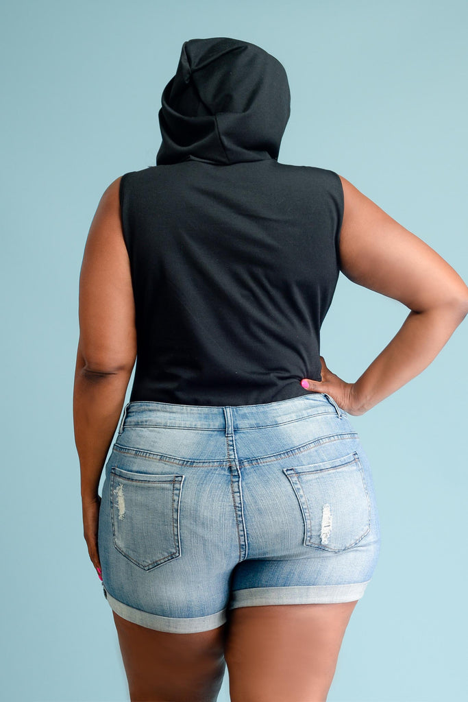 Plus Size Street Stylish Gang Hooded Bodysuit