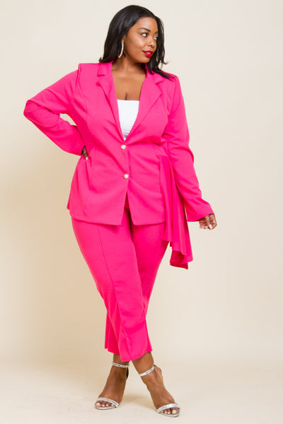 Plus Size Jacket And Pants Set