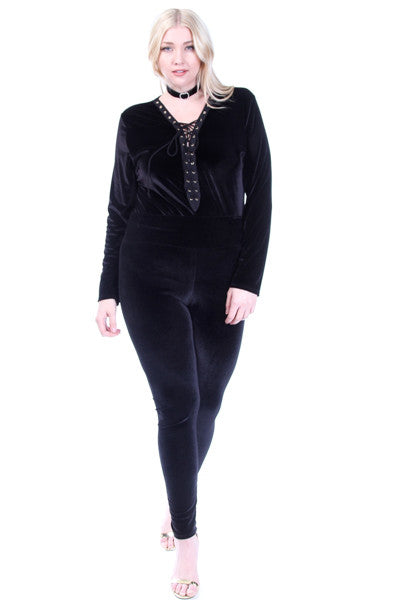 **FINAL SALE** Plus Size Long Sleeved Tie Up Velvet Sexy Bodysuit