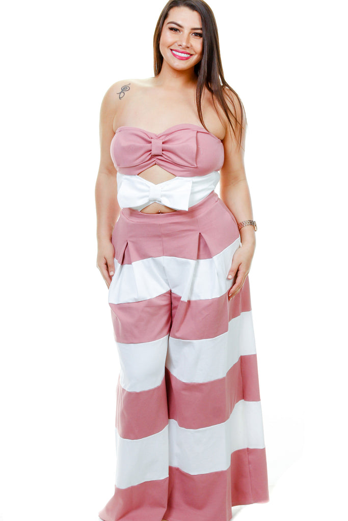 Plus Size Striped Sweetheart Jumpsuit