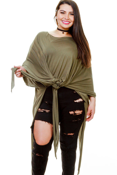 Plus Size Side Drape Tee