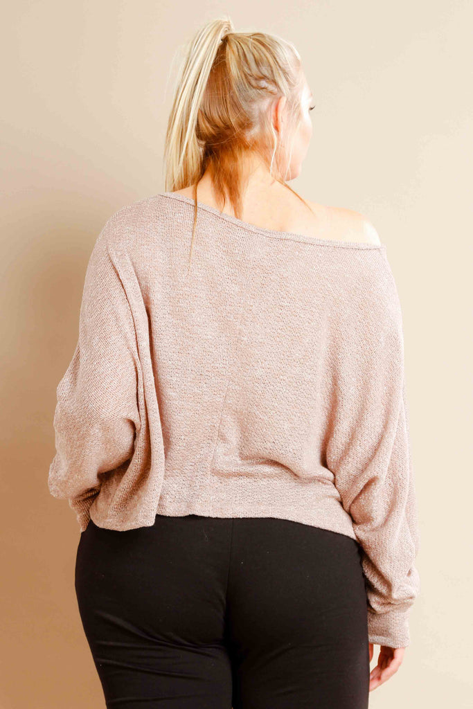 Plus Size Knit Dolman Sleeve Top