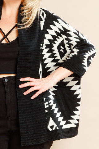 Plus Size Aztec Open Knit Cardigan