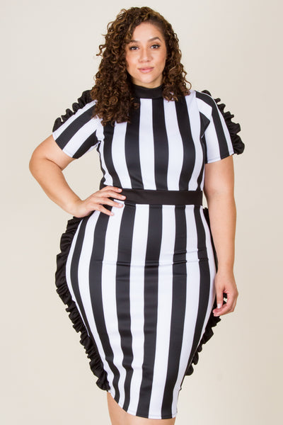 Plus Size Strip Side Ruffle Midi Dress