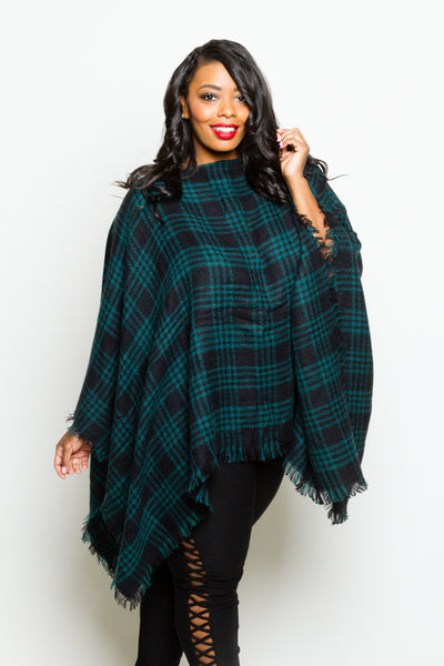 Plus Size Oversized Fall Plaid Poncho