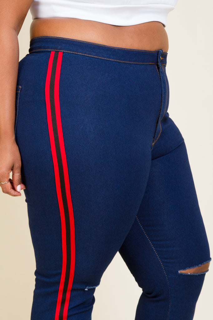 Plus Size High Rise Side Stripe Jeans