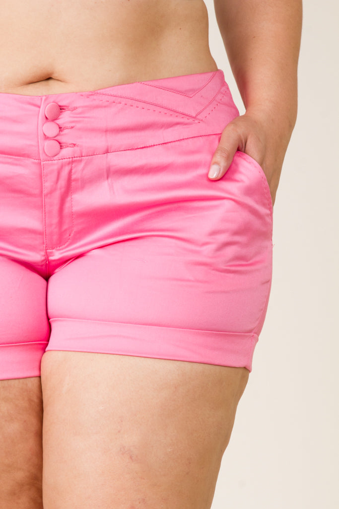 Plus Size Solid Color Shorts