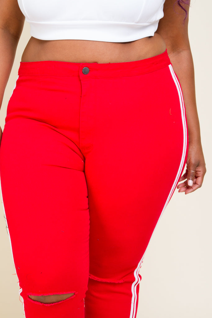 Plus Size High Rise Side Stripe Pants