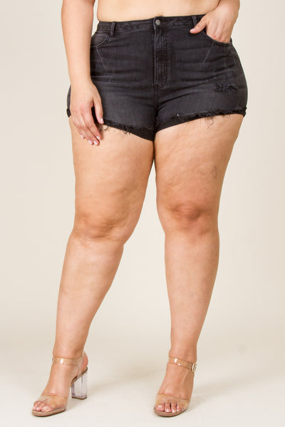 Plus Size Fringe Cut Shorts