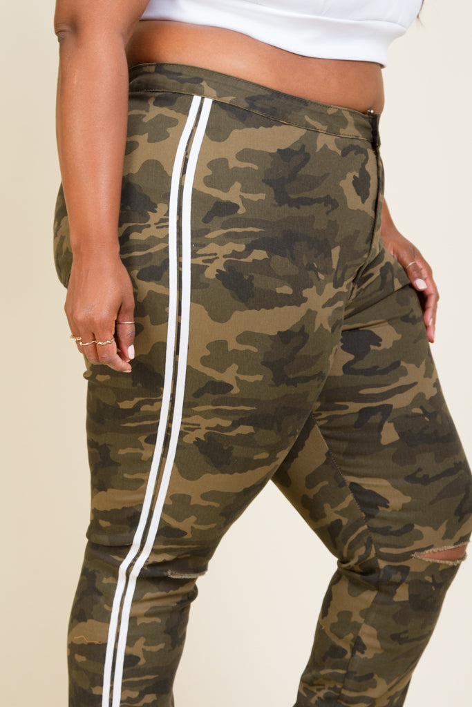 Plus Size High Rise Side Stripe Camo Pants