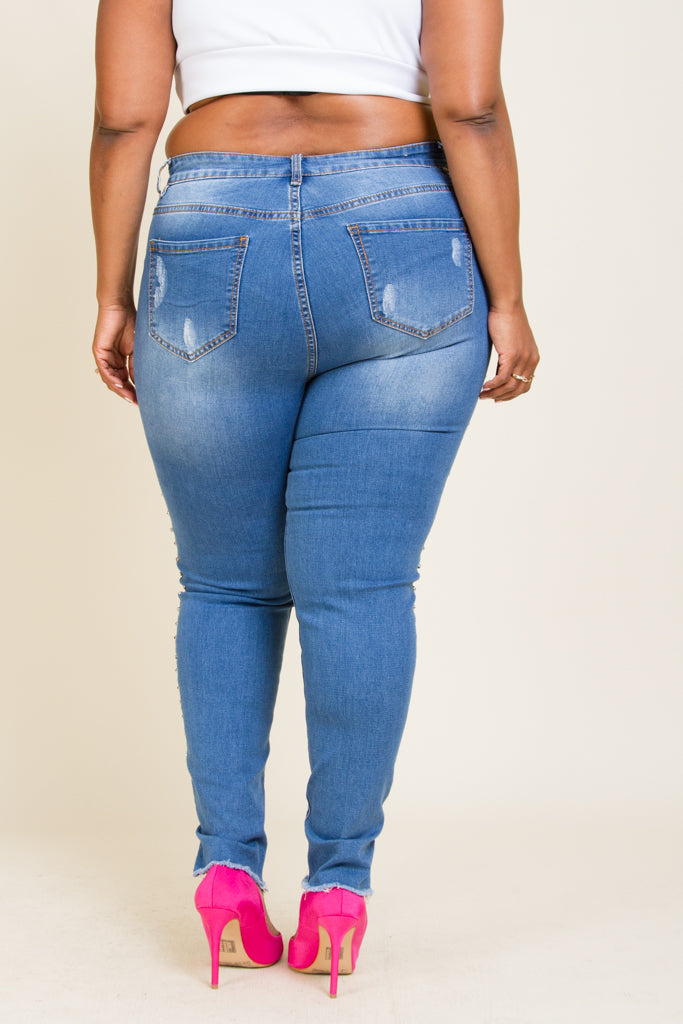 Plus Size Side Stud Jeans
