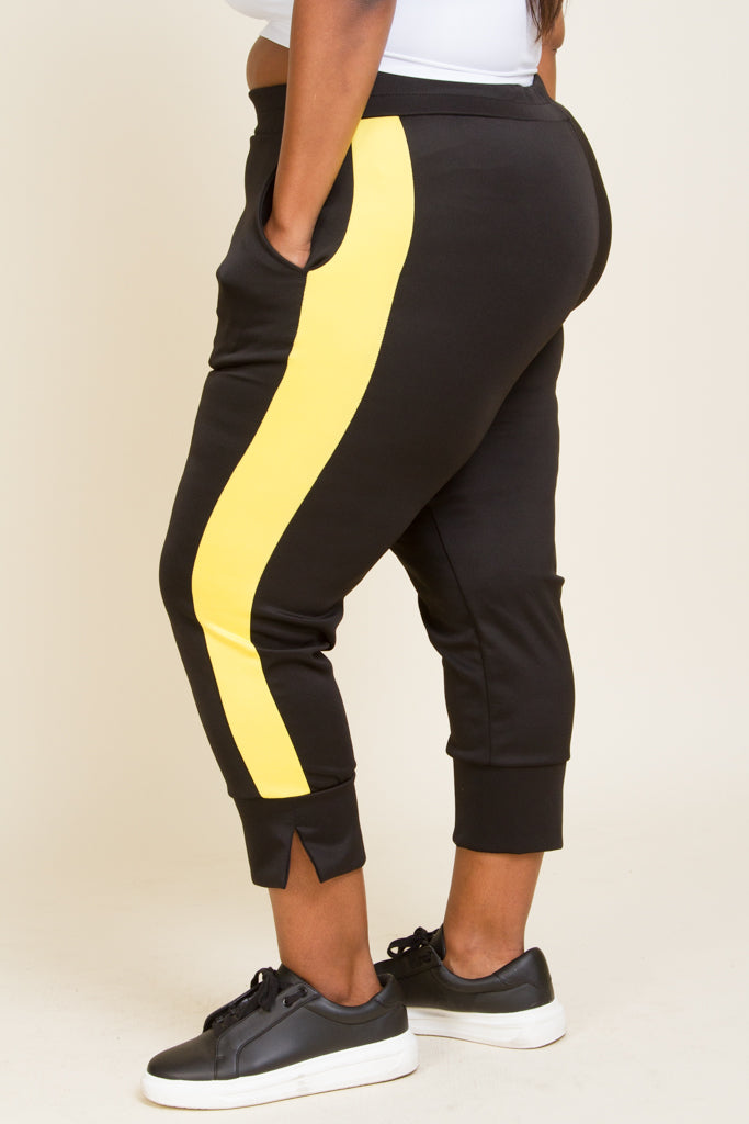 **Active Wear** Plus Size Scuba Colorblock Capri Pants