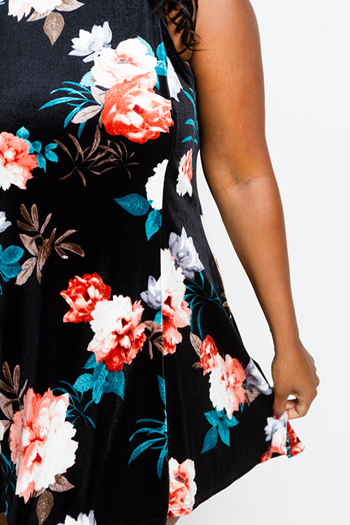 Plus Size Floral Velvet Mini Dress