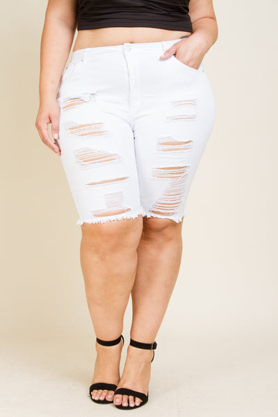 Plus Size Capri Distresses Jeans