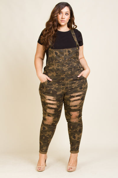 Plus Size Distressed Camo Twill Overall
