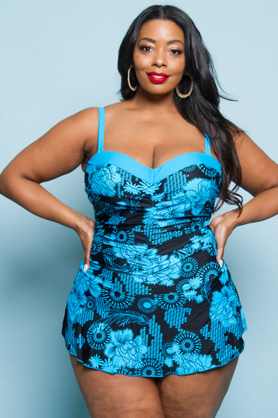 Plus Size Top Point One Piece Swimwear With Skirts