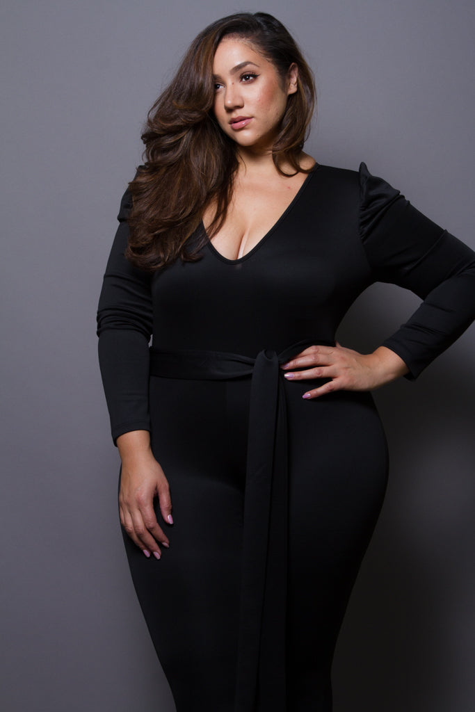 Plus Size Ruched Sleeve Bodycon Jumpsuit
