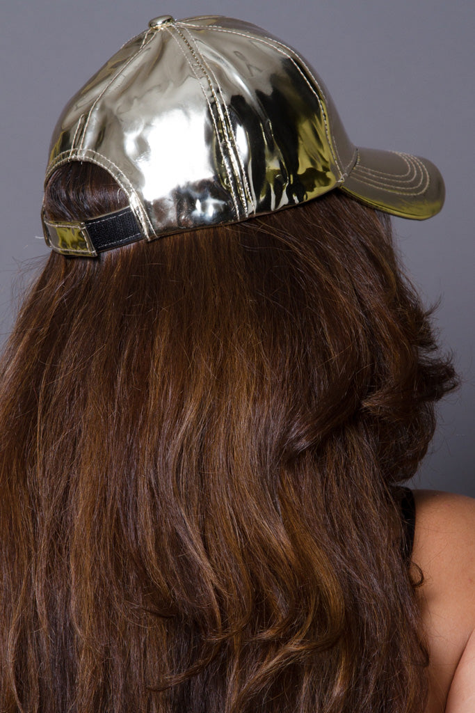 Metallic  Leather Baseball Cap