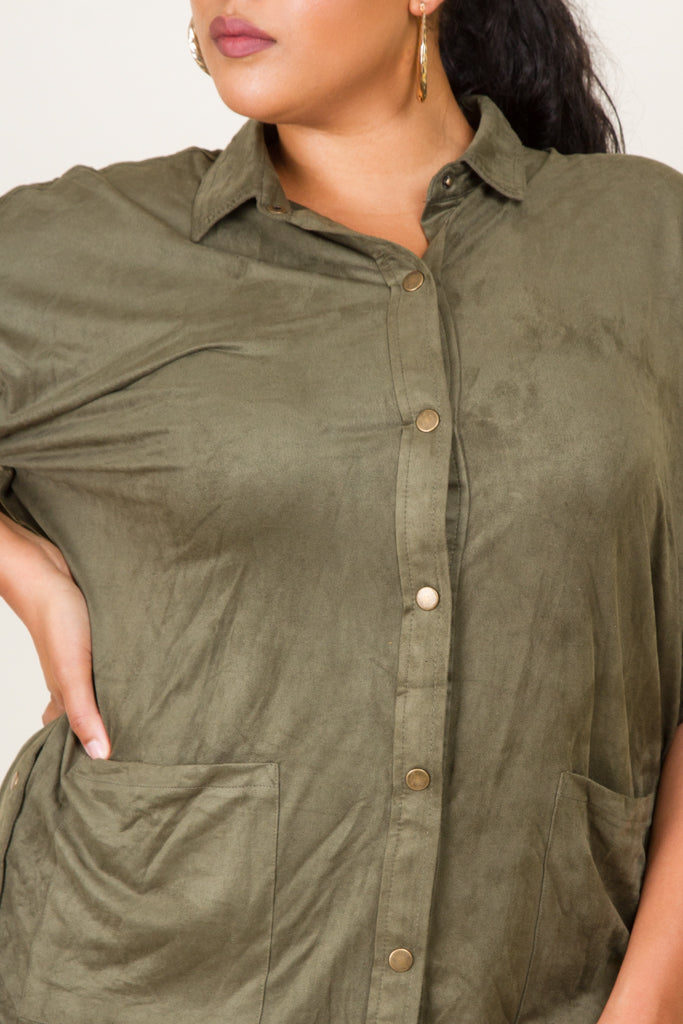 Plus Size Button Up Suede Dress