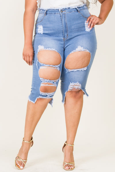 Plus Size Denim Destroyed Bermuda Pants