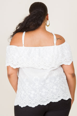 Plus Size Graphic Lace-up Top