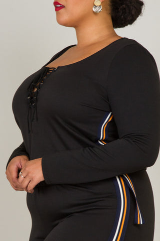 Plus Size Metal Trim Casual Pocket Jumpuit