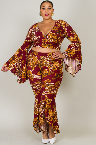 Plus Size Floral Flare Two Piece