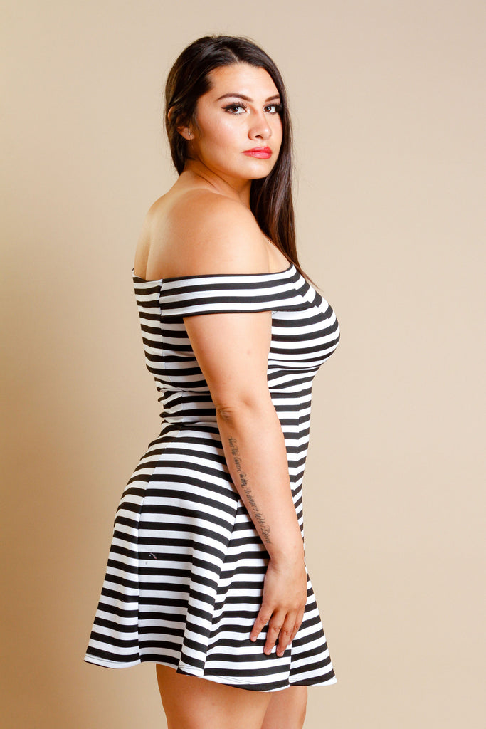 Plus Size Stripe Off Shoulder Dress