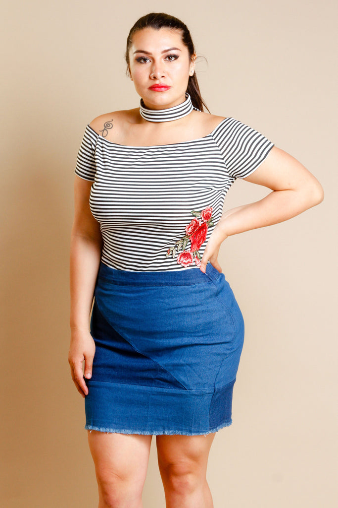 Plus Size Striped Choker Top
