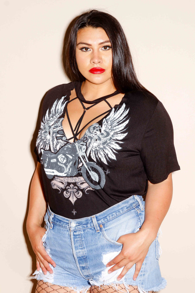 Plus Size Cut Out Band Shirt