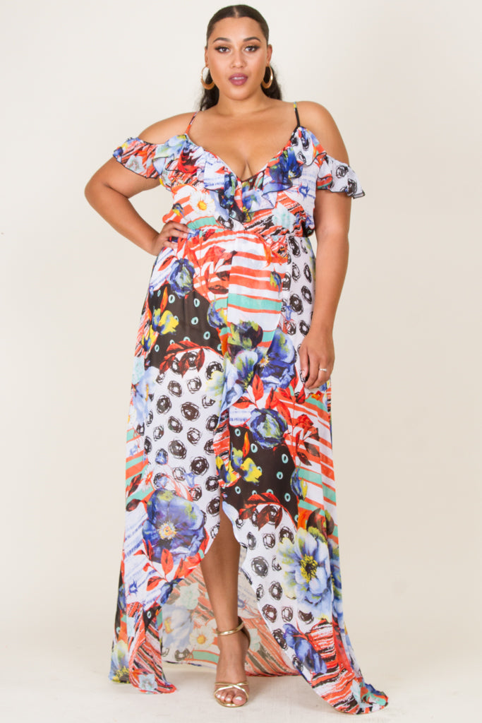 Plus Size Surplice Chiffon Maxi Dress