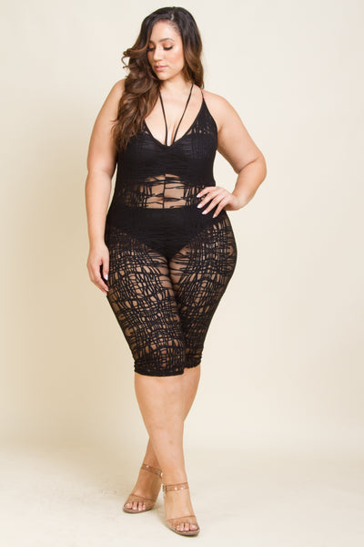 Plus Size Sexy Webbed Mesh Jumpsuit