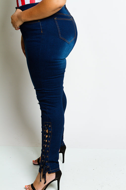 **FINAL SALE** Plus Size High Rise Lace Up Skinny Jeans