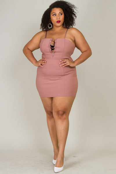 Plus Size Sexy Eyelet Lace-Up Dress