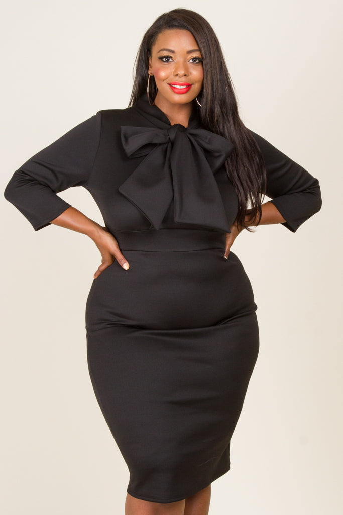 Plus Size Neck Bow Tie Midi Dress