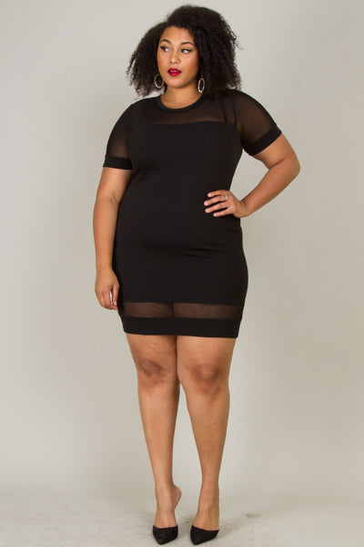 Plus Size Mesh Panel Fitted Dress