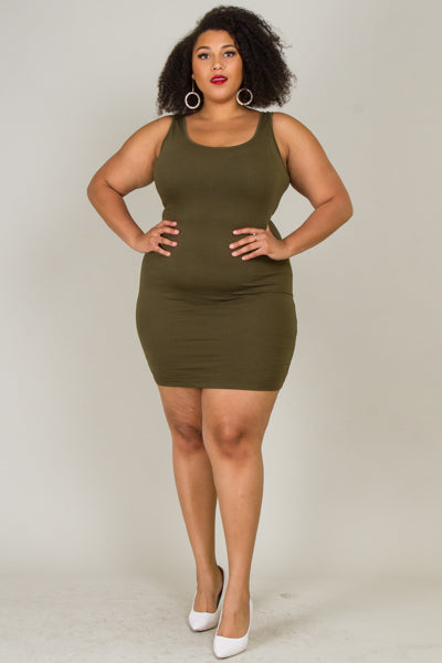 Plus Size Bodycon Tank Top Mini Dress