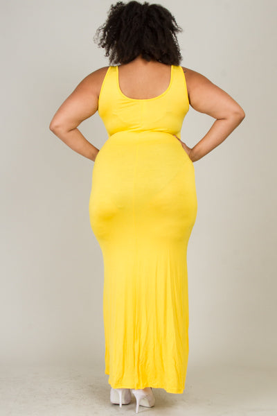 Plus Size Solid Maxi Dress