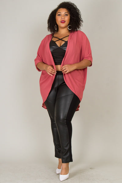Plus Size 3/4 Sleeve Solid Cardigan